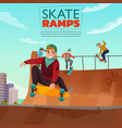skate ramp cartoon vector image vector image