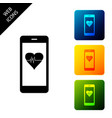 smartphone with heart rate monitor function icon vector image vector image