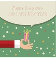 Stylized hand holding gift vector image