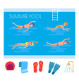 summer pool people and icons vector image vector image