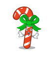 surprised candy cane character shaped a cartoon vector image vector image