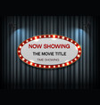 theater sign ellipse on curtain vector image vector image