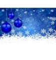Three blue shiny ball on a beautiful Christmas vector image vector image