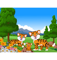 tiger cartoon family in the jungle vector image vector image
