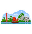 vietnam day panoramic view tran quoc pagoda vector image vector image