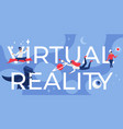 virtual reality lettering cartoon futuristic vector image vector image
