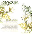 watercolor herbs and flowers background vector image vector image