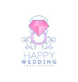 wedding line logo design with diamond ring and vector image