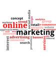 word cloud online marketing vector image vector image