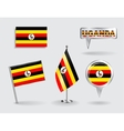 Set of Ugandan pin icon and map pointer flags vector image