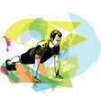 active young man doing push-ups in gym vector image