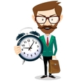 Adult teacher with an alarm clock vector image