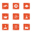 asian condition icons set grunge style vector image vector image
