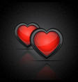 background with glossy hearts vector image