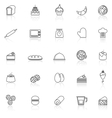 Bakery line icons with reflect on white background vector image vector image