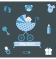 bashower icons set boy blue vector image