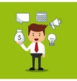 businessman avatar with bussines flat icons vector image vector image