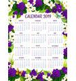 calendar 2019 floral crocus flowers design vector image