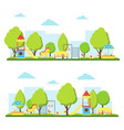 cartoon playground in city landscape set vector image vector image