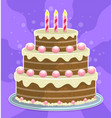 cartoon tasty holiday cake with cream and candles vector image vector image