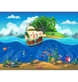 Cartoon underwater world with fish plants island vector image vector image