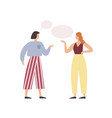 cartoon woman friend talking with speech bubbles vector image