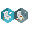 Clean and dirty toilet isometrics interior of vector image vector image