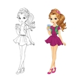 Coloring Book Of Coffee Girl vector image vector image