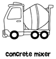 Concrete mixer cartoon hand draw vector image vector image