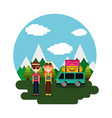 couple tourist vacation van suitcases mountains vector image vector image