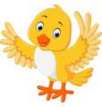 cute yellow bird cartoon vector image vector image