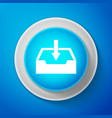 Download inbox icon isolated on blue background