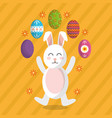 easter bunny decorated eggs image vector image