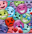 emoticon background smile faces collection vector image