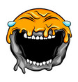 emoticon with big laugh crying sun vector image vector image