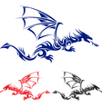 flying drag blue red and black asian tattoo vector image vector image