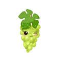 funny cartoon cute green grapes funny face vector image vector image