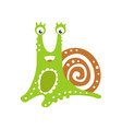 funny snail character cute green mollusk hand