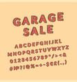 garage sale header vintage 3d alphabet set vector image
