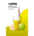 glass fresh apple juice with straw and sliced vector image