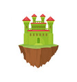 green medieval stone island castle on white vector image vector image