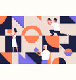 group people arranging abstract geometric vector image vector image