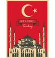 hagia sophia on the background Turkish flag vector image vector image