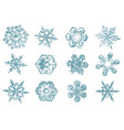 hand drawn sketch of snowflakes vector image