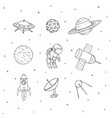 hand drawn space elements outline cosmos set vector image vector image