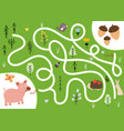 help cute hungry pig find path to acorns vector image vector image