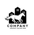 horse houses logo design vector image vector image