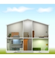 House cut with interiors on against the sky vector image vector image