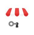 icon concept key into keyhole under shop store vector image vector image