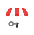 icon concept of key into keyhole under shop store vector image vector image